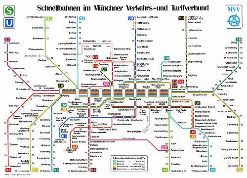 Schnellbahnnetzplan Mai 1992