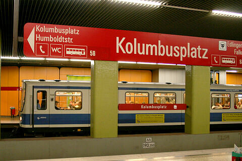 B-Wagen 509 im U-Bahnhof Kolumbusplatz